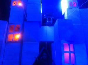 city made of cartons blue