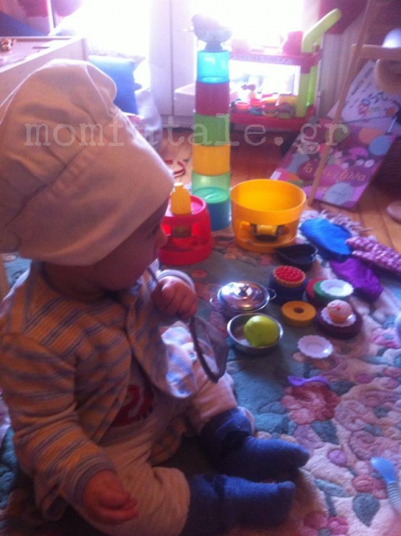 baby playing chef