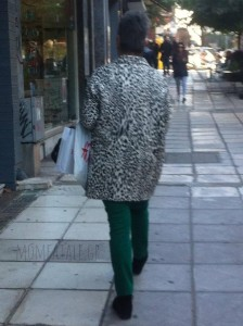 animal print green pants lady fashion