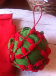 christmas ball red wool