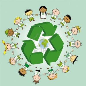 16499515-kids-holding-hands-around-a-recycle-symbol-and-the-earth