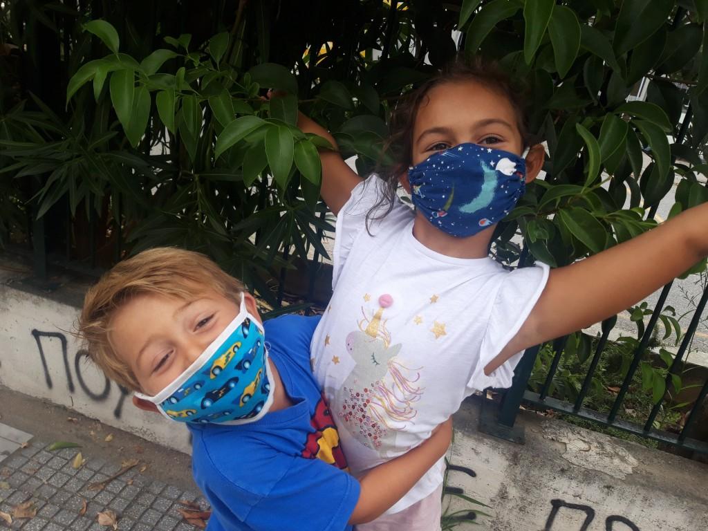 children wearing masks παιδικές μασκες