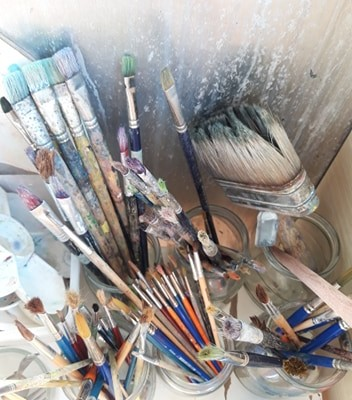 painting materials and brushes art kids
