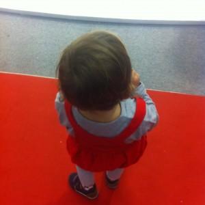 little girl gray red
